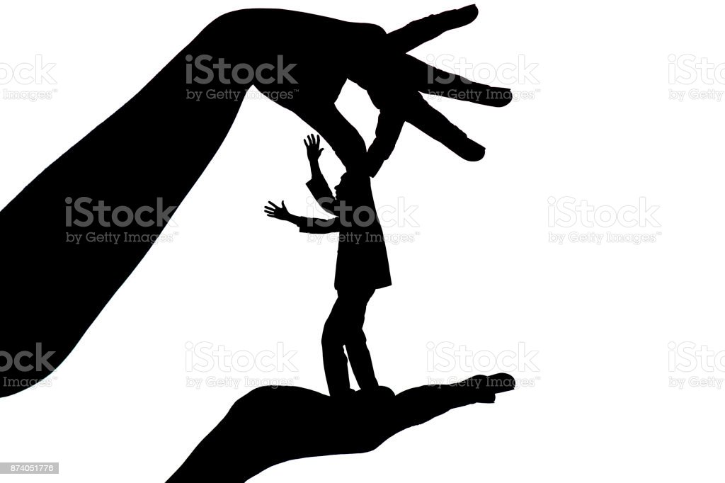 silhouette female holding male by fingers behind the scruff as a puppet on white isolated background stock photo