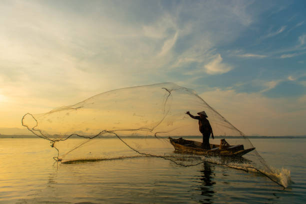 Silhouette Fisherman Fishing Nets on the boat.Thailand Silhouette Fisherman Fishing Nets on the boat.Thailand fishing net stock pictures, royalty-free photos & images