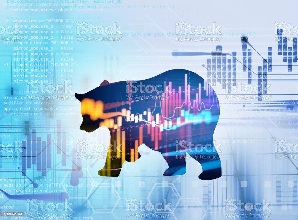 silhouette form of bear on technical financial graph stock photo