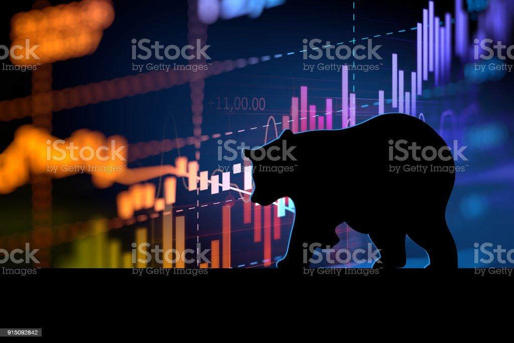 forma de silhueta de urso na técnico financeiro gráfico - foto de acervo