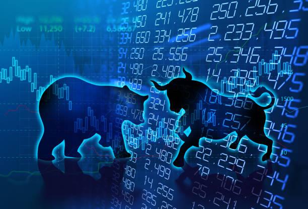 forma de la silueta de toro y oso en técnica gráfica financiera - oso fotografías e imágenes de stock