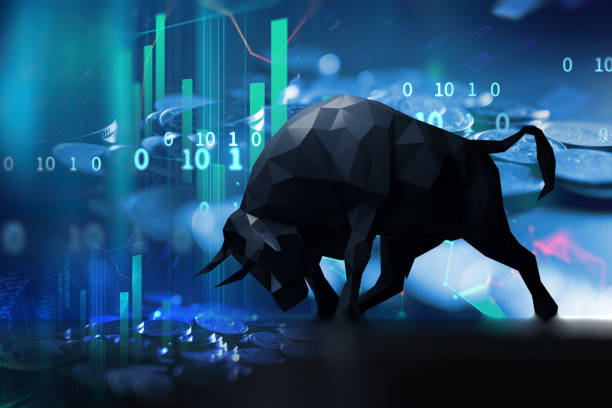silhouette form of bull on technical financial graph stock photo