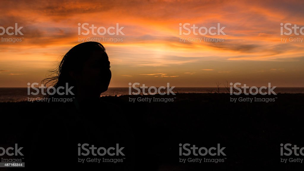 Silhouette girl stock photo