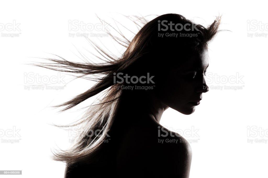 silhouette girl portrait stock photo