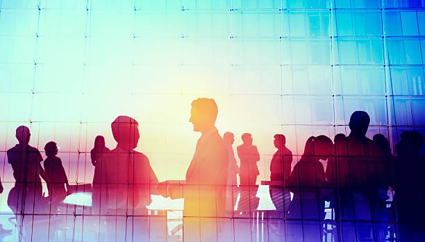 Silhouette de gens d'affaires Global Concept de réunion - Photo