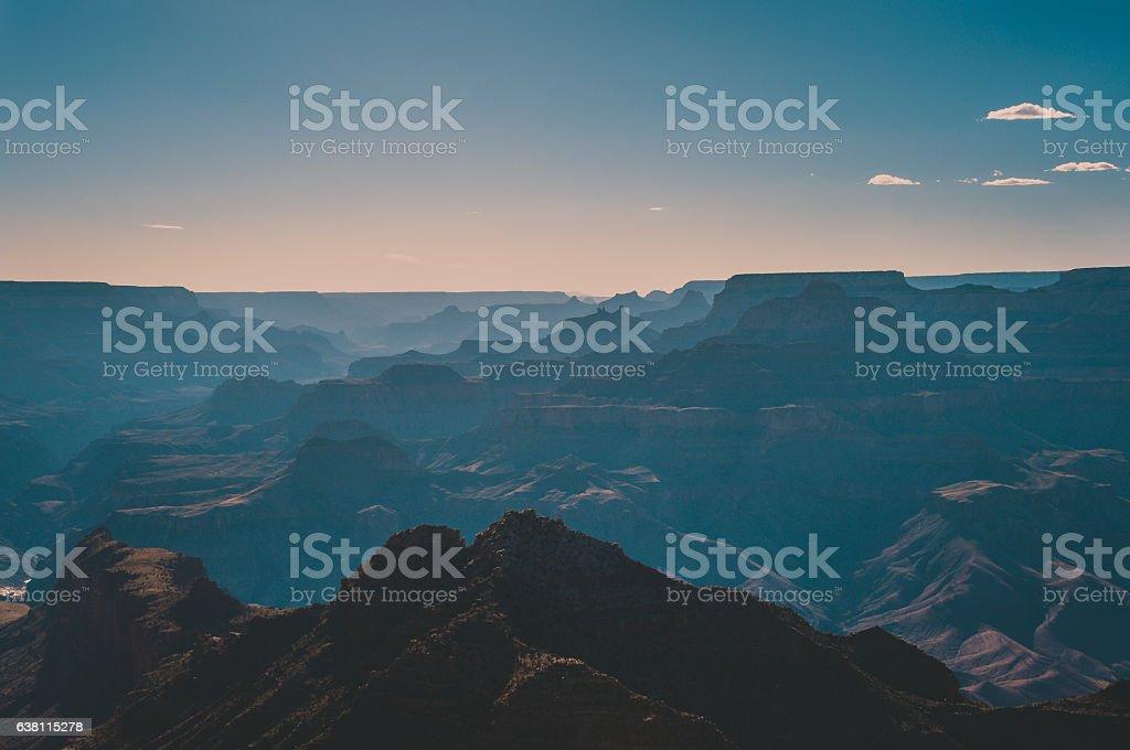 Silhouette Grand Canyon at sunset, Arizona USA stock photo