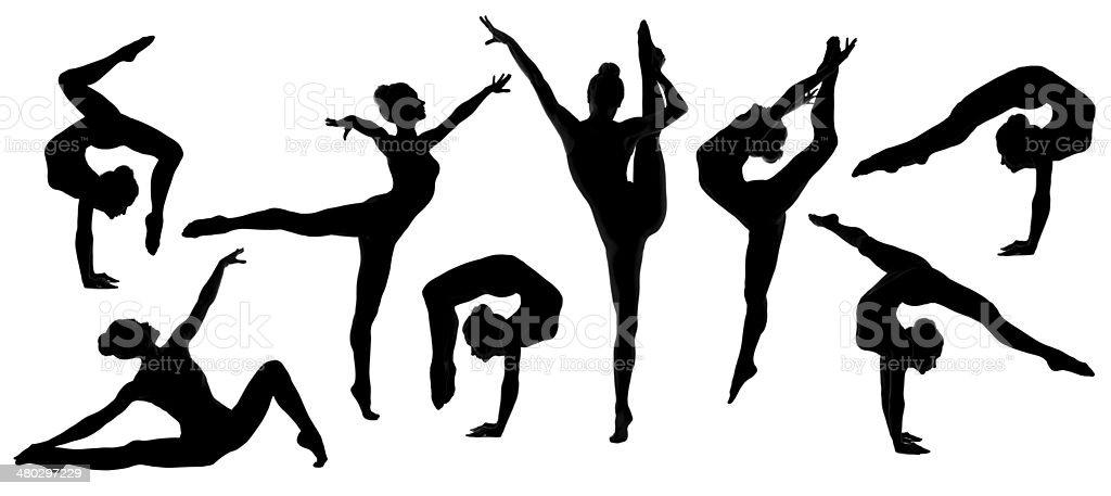 silhouette gymnast dancer set, ballerina female flexible pose, white background stock photo