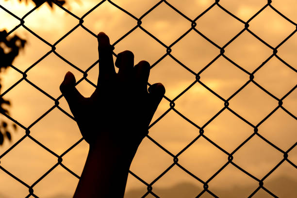 silhouette hand holding on chain link fence stock photo