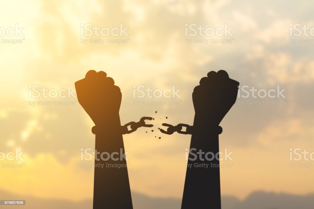 silhouette hand with chain is absent stock photo
