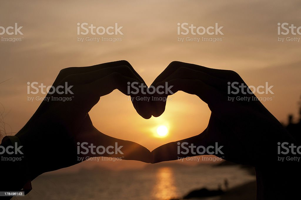 Silhouette Heart from hand royalty-free stock photo