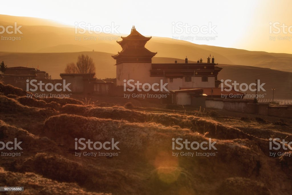 Silhouette image chinese temple or tibet style and landmarks public place in Ganzi, Sichuan, China stock photo