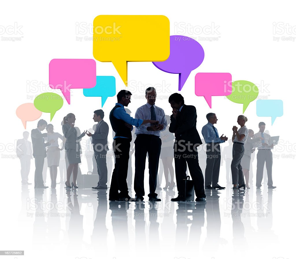 Silhouette images of business people talking with bubbles royalty-free stock photo
