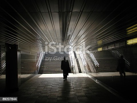 Silhouette In A Tunnel Stock Photo & More Pictures of Adult