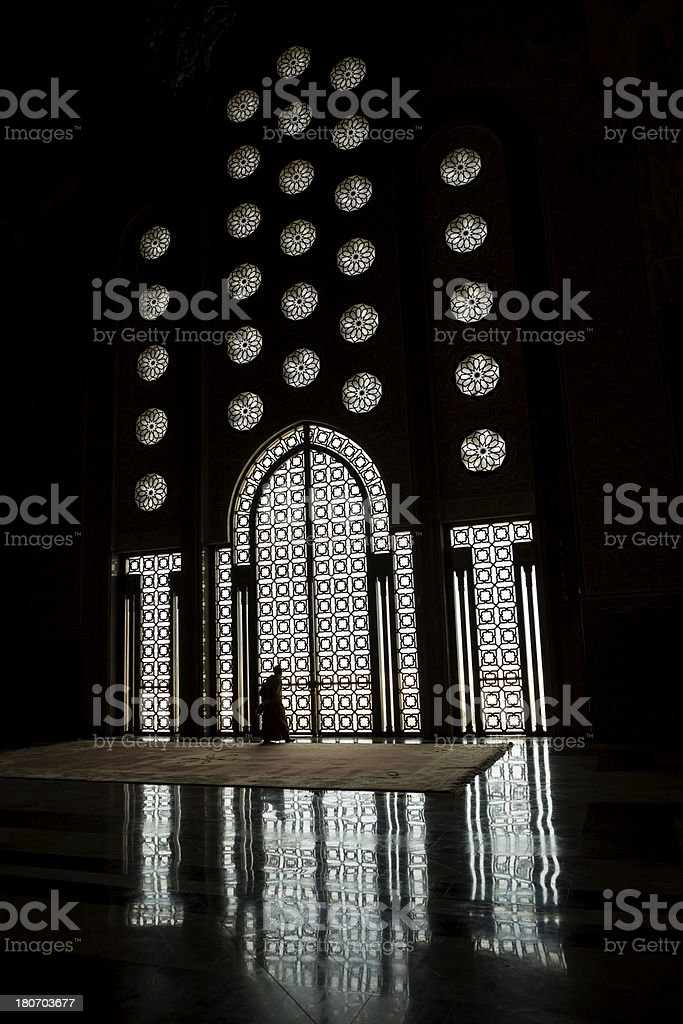 silhouette in mosque royalty-free stock photo