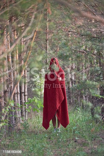 View of woman under red cloak standing alone on alley in tranquil coniferous woods