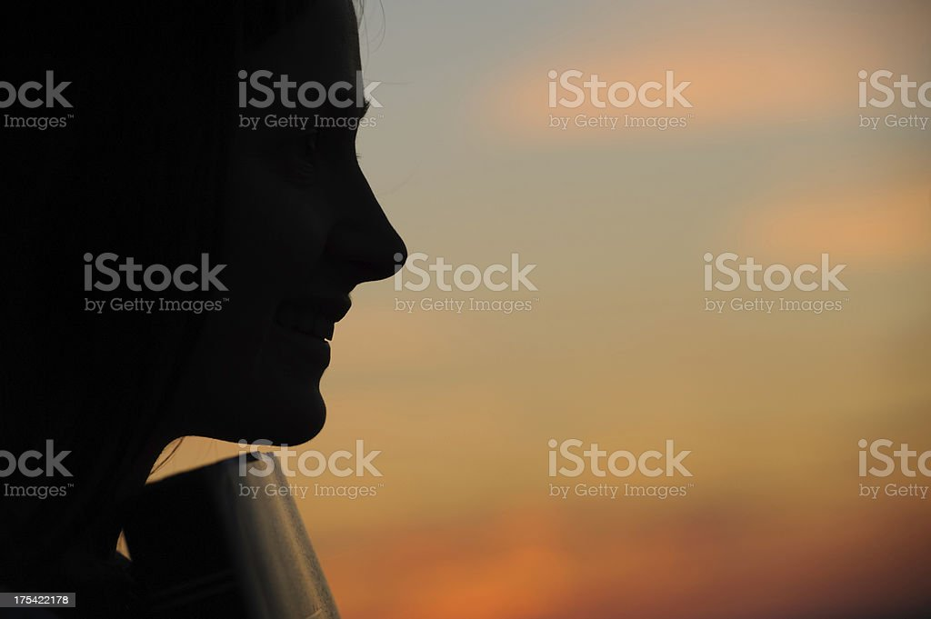 Silhouette in sunset light. stock photo