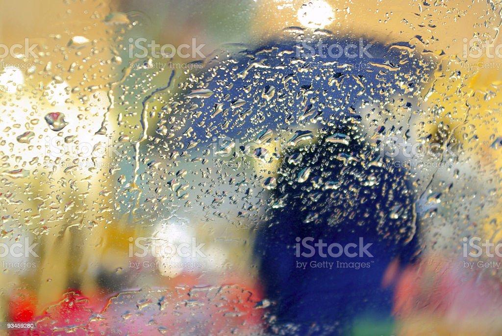 Silhouette in the Rain stock photo