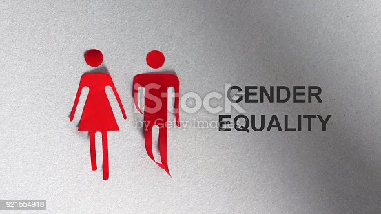 istock A silhouette in the shape of a red woman and man. The text GENDER EQUALITY. 921554918