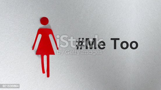 istock A silhouette in the shape of a red woman. The text #Me Too 921535864
