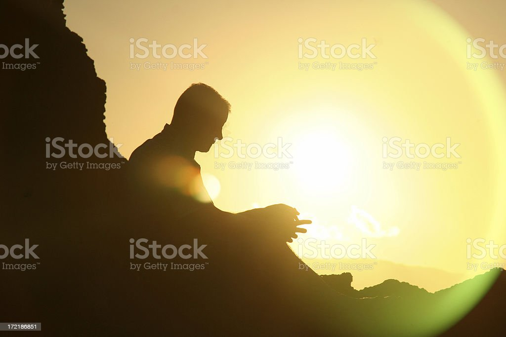 Silhouette in the Sunset royalty-free stock photo