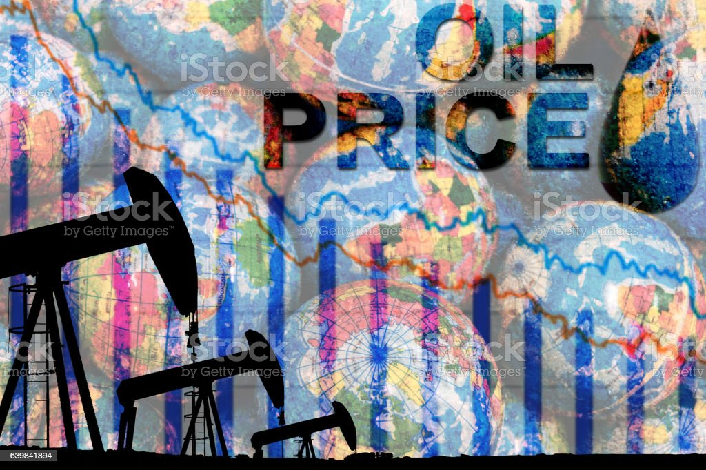 silhouette industrial oil pump jack and falling oil graph stock photo