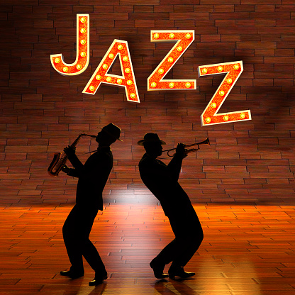 istock Silhouette Jazz Musicians with Jazz Letters 1030744348