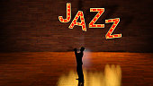 Silhouette Jazz Musician against background of Jazz Letters in lights