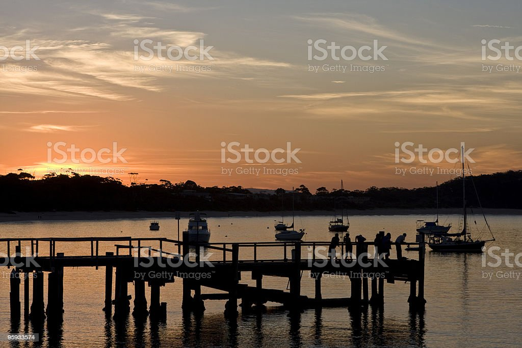 Silhouette Jetty Bay royalty-free stock photo