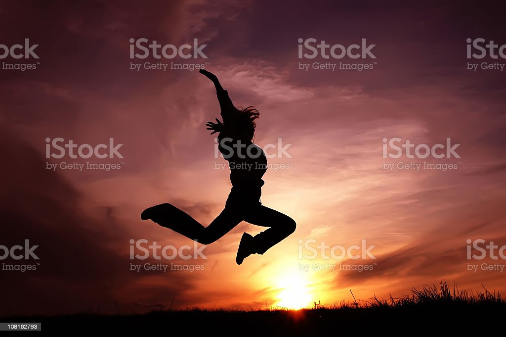 Silhouette jumping royalty-free stock photo
