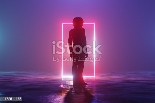 Silhouette man astronaut stands on an alien planet in front of a luminous neon circle. 3d rendering
