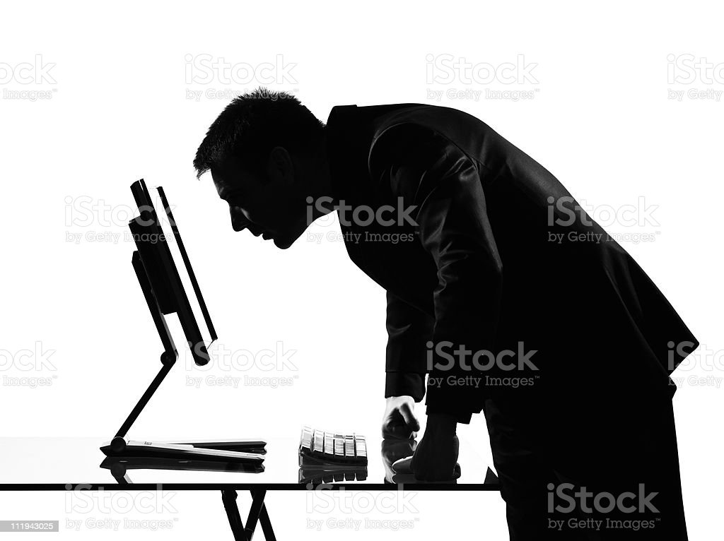 silhouette  man  computing angry royalty-free stock photo