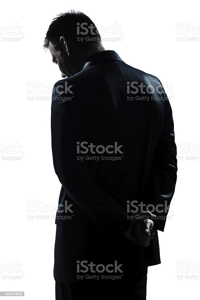 silhouette man portrait backside sad despair lonely stock photo