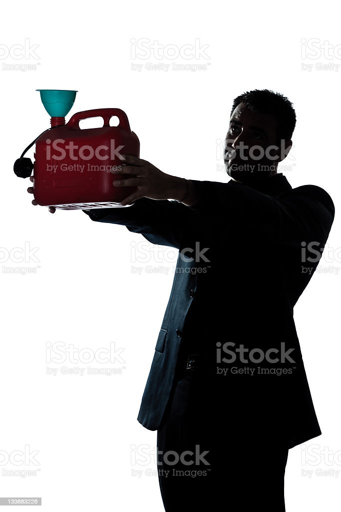 silhouette man portrait out of gas begging stock photo