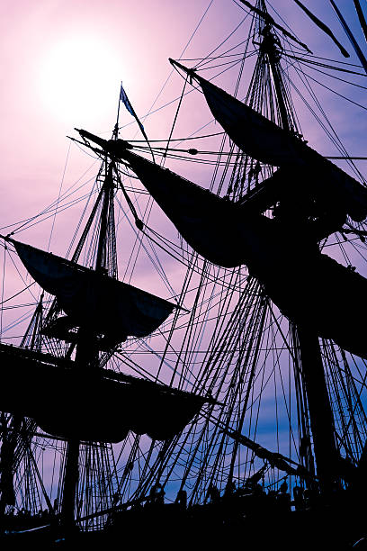 Silhouette Masts stock photo