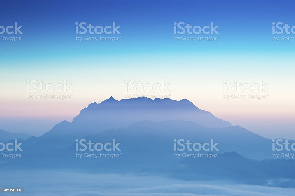 Silhouette Mountain at sunrise royalty-free stock photo