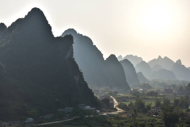 Silhouette mountain view during beautiful sunset in northeast of Vietnam stock photo