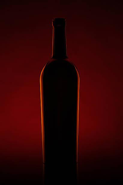 Silhouette eines Bierflasche auf einem dunklen Hintergrund – Foto