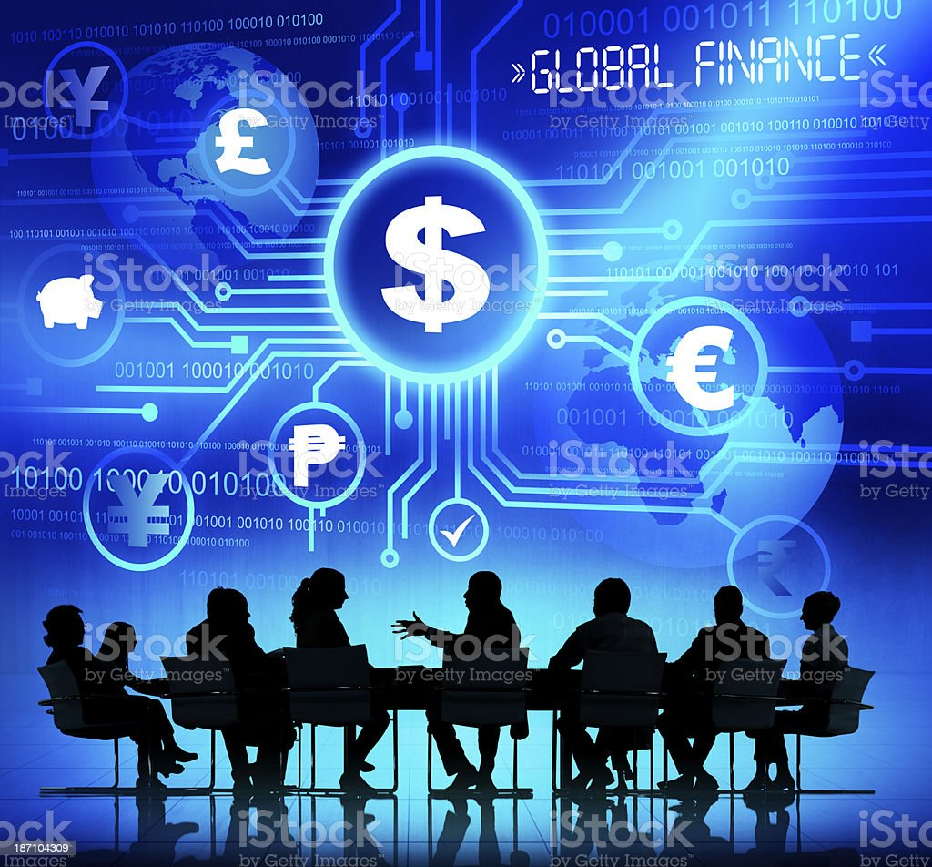 A silhouette of a business meeting with a blue background royalty-free stock photo