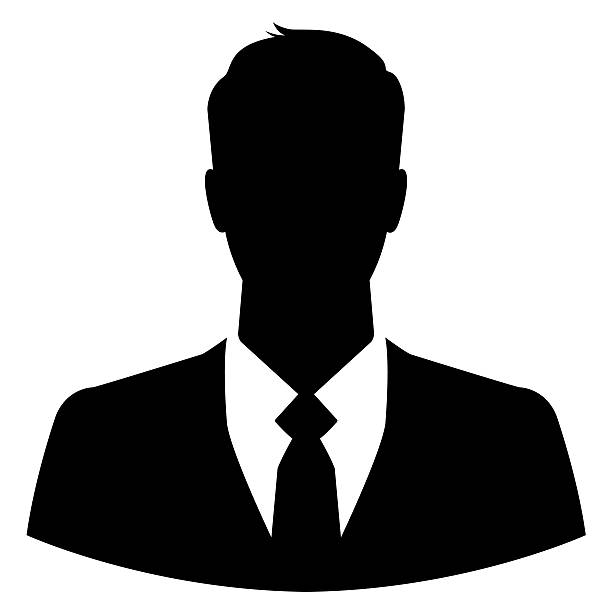silhouette of a businessman for use as a profile picture - human head stock photos and pictures