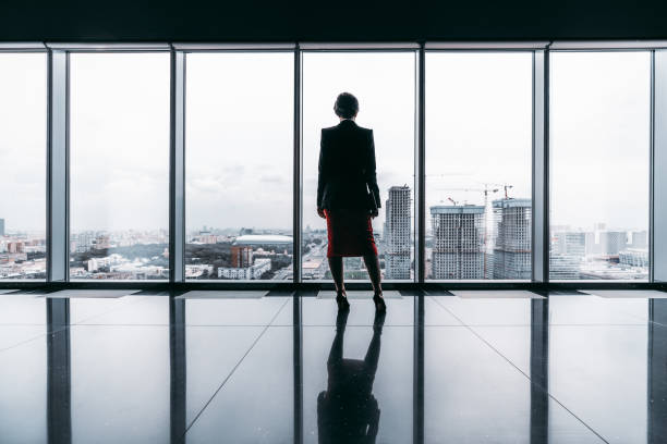 A silhouette of a businesswoman stock photo