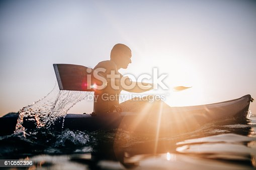 istock Silhouette of a canoeist 610552396
