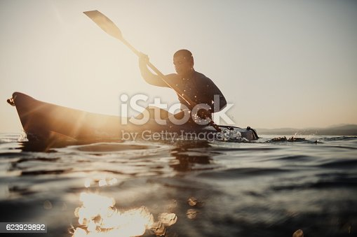 istock Silhouette of a canoeist 623929892