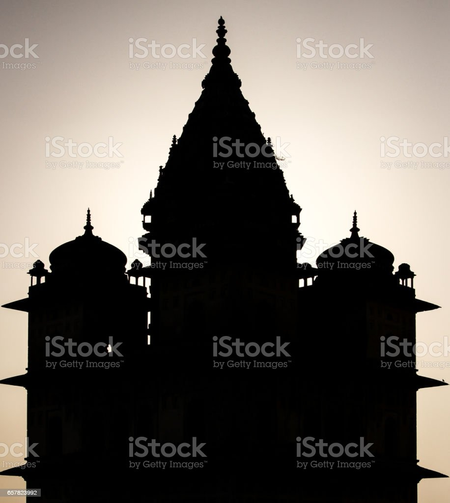 Silhouette of a centoaph, Orchha against the light stock photo