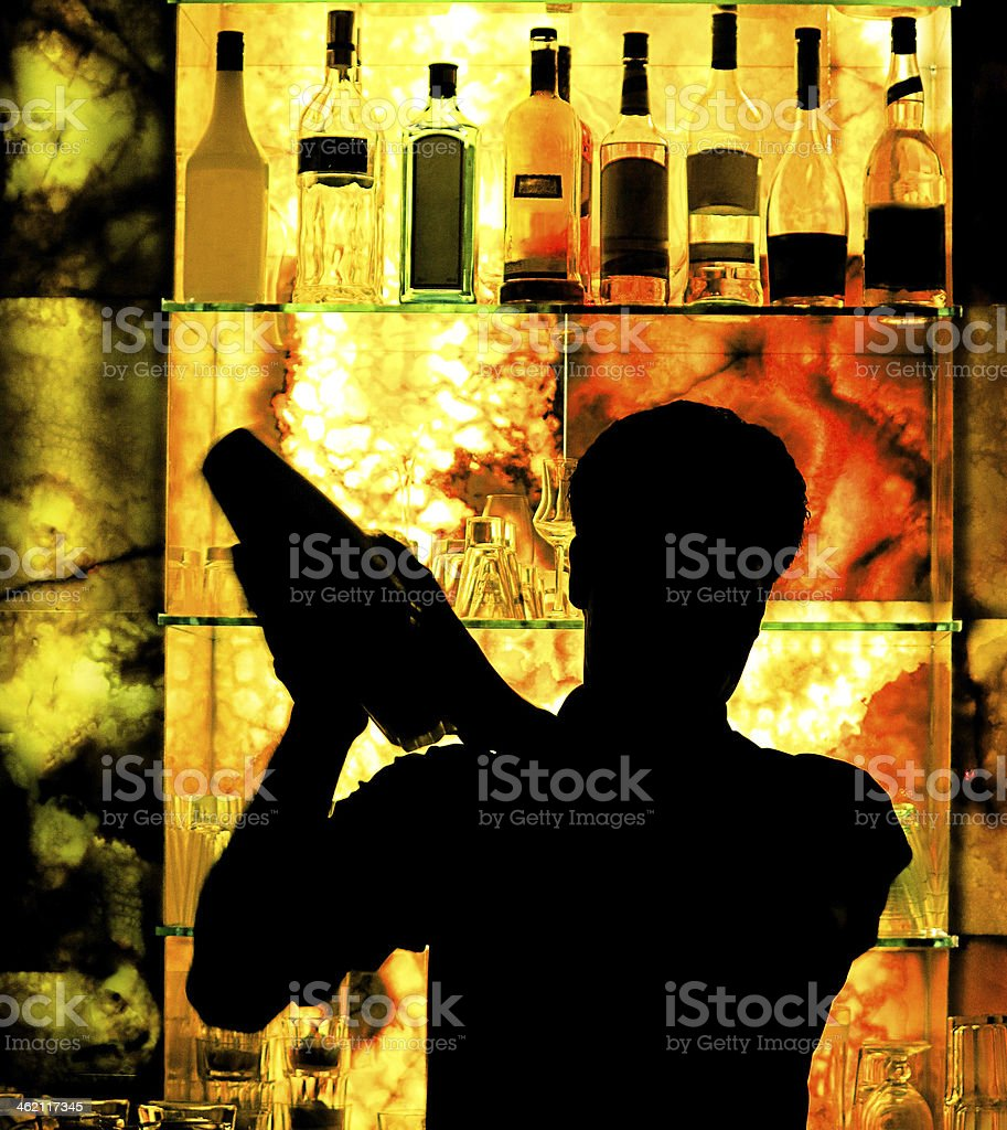 Silhouette of a Classic Barman stock photo
