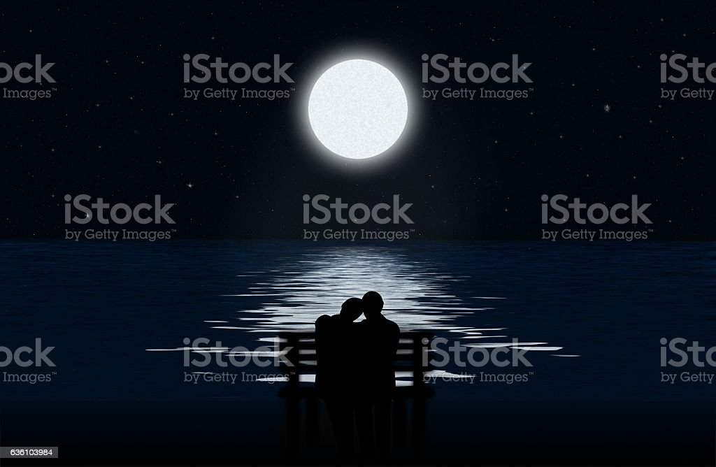 Silhouette of a couple stock photo