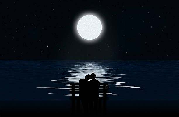 silhouette of a couple - romantic moon stock photos and pictures