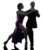 Silhouette of a couple that are ballroom dancers doing tango