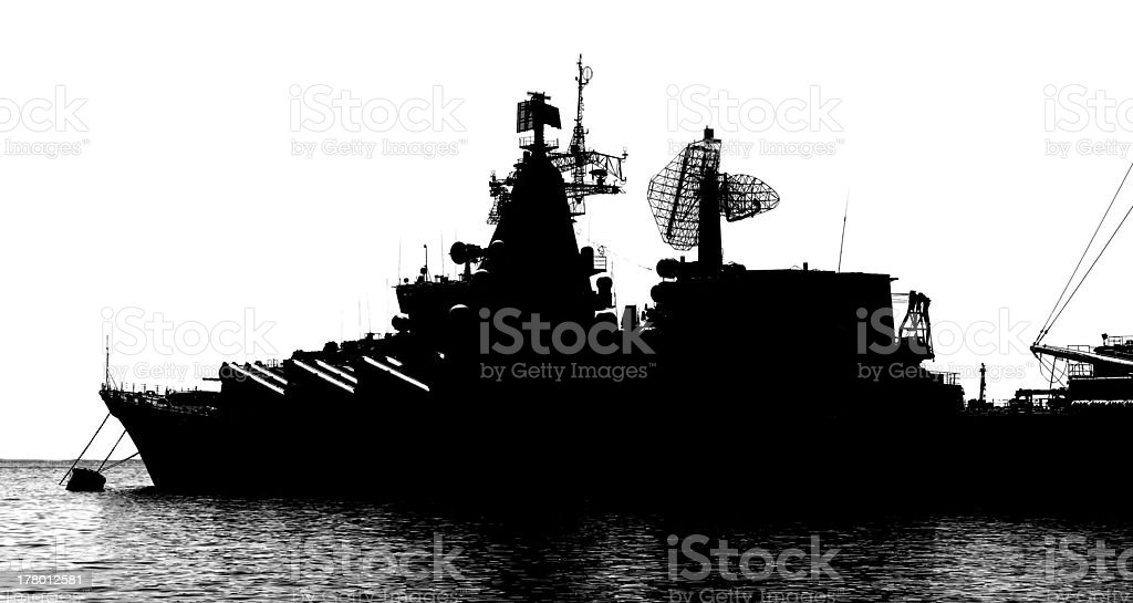 Silhouette of a cruiser. stock photo