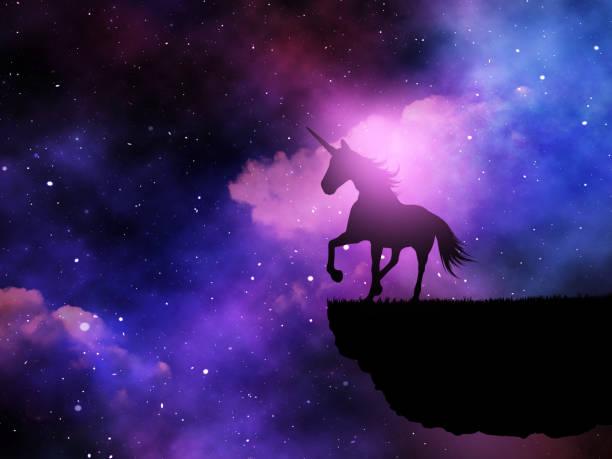 3d silueta de un unicornio de fantasía contra un cielo de noche del espacio - unicornio fotografías e imágenes de stock