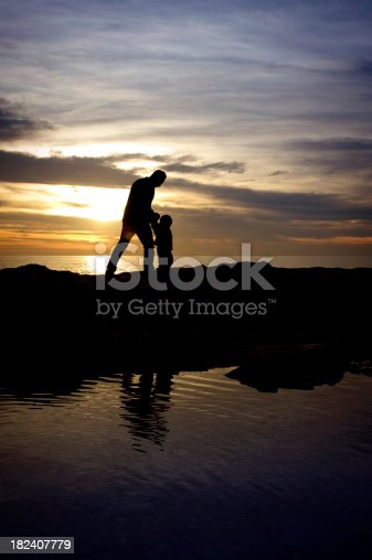 497142294 istock photo Silhouette of a father and son 182407779